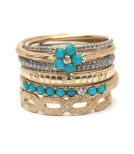 Load image into Gallery viewer, Vintage Inspired Stacking Ring - Turquoise & Diamond