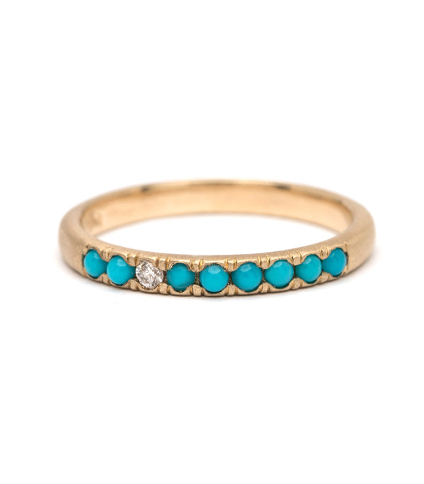 Vintage Inspired Stacking Ring - Turquoise & Diamond