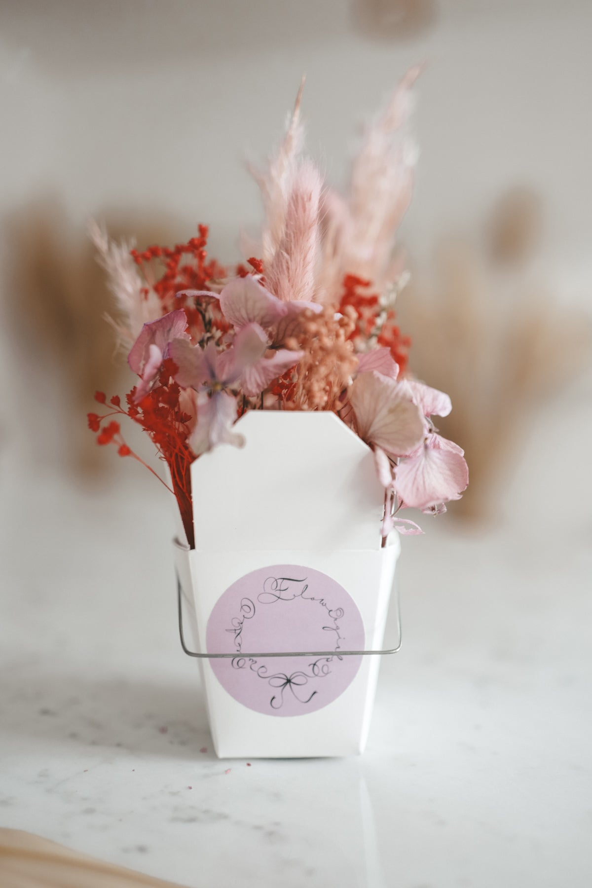 Dried Flower Noodle Box Red Lady