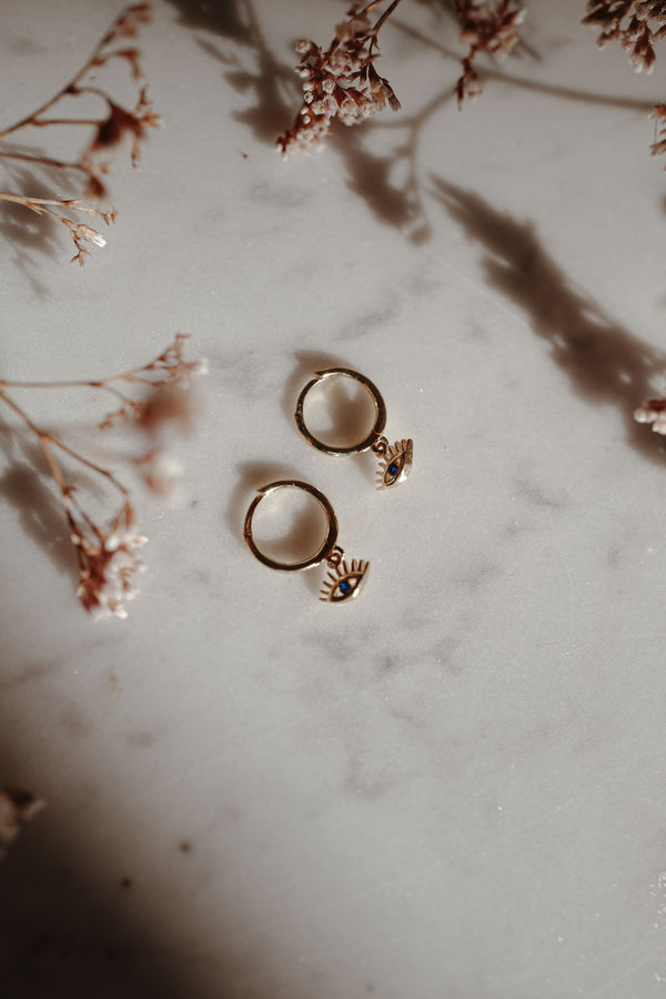 Golden Eye 18k Gold Hoops