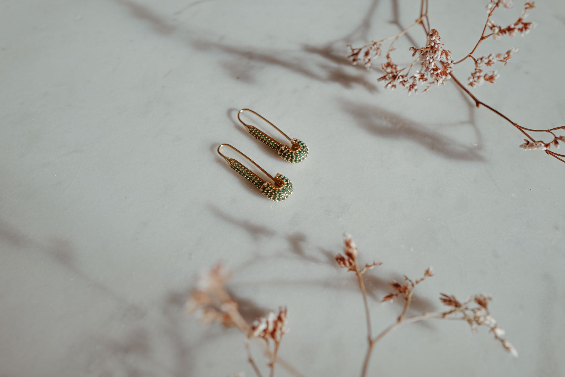 Safety Pin 18k Gold Earrings