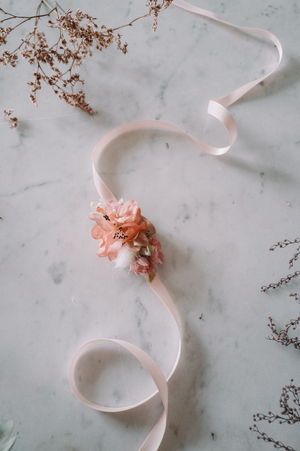 Miss Peach Handmade Flowerband