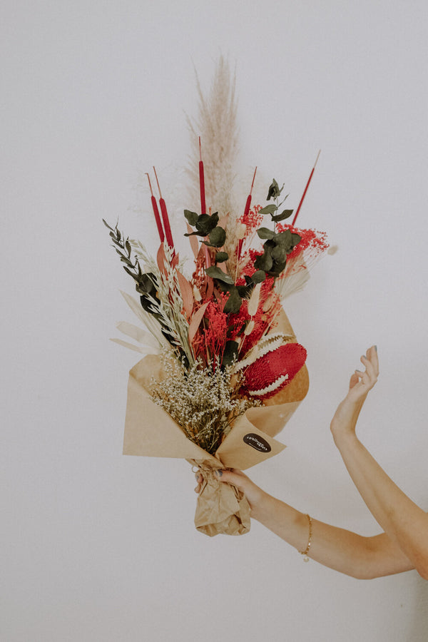 Large Red Dried Flower Bundle