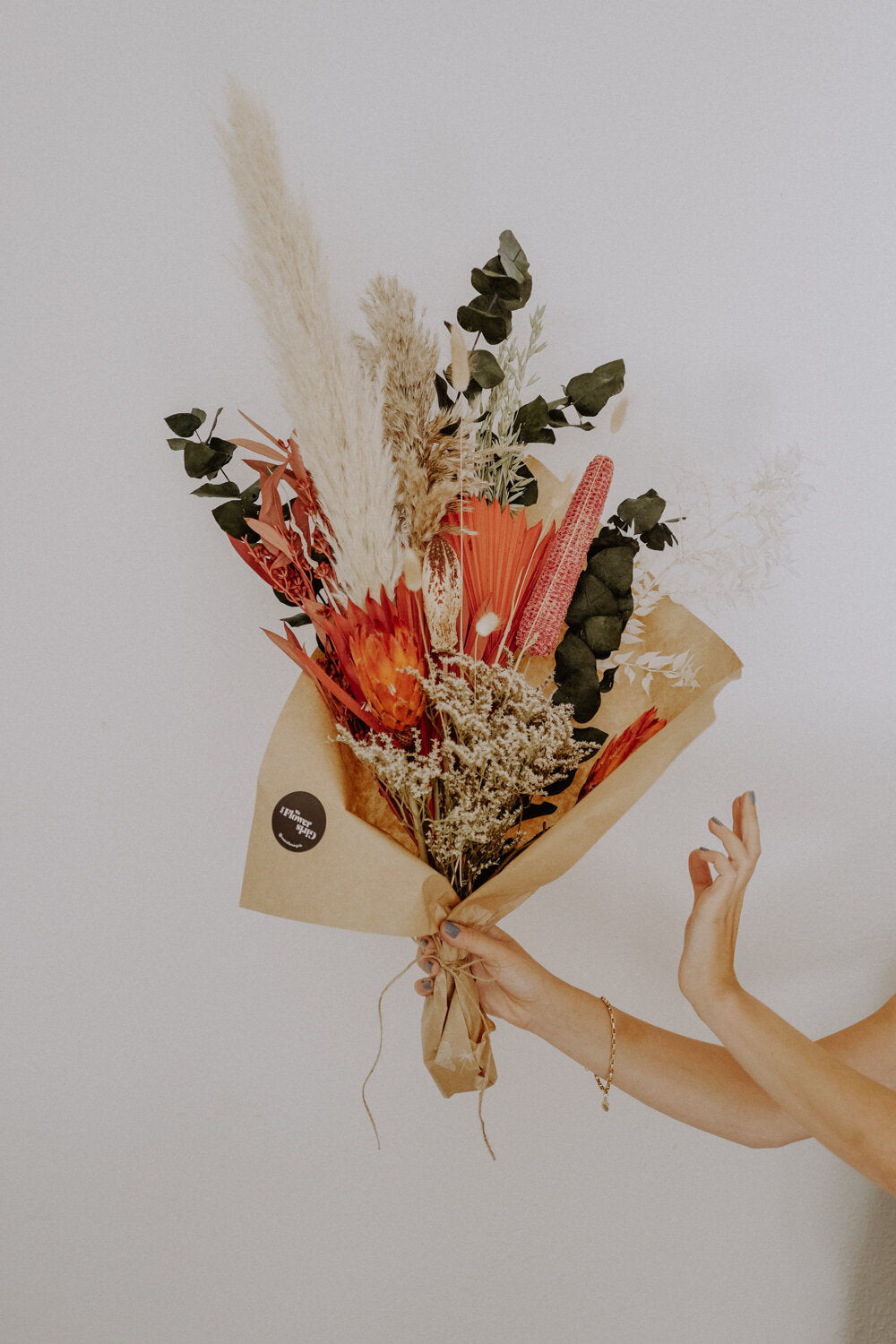 Large Orange Dried Flower Bundle