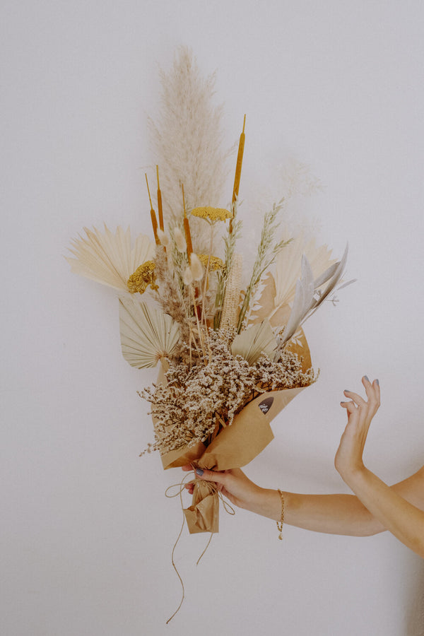 Large Yellow Dried Flower Bundle