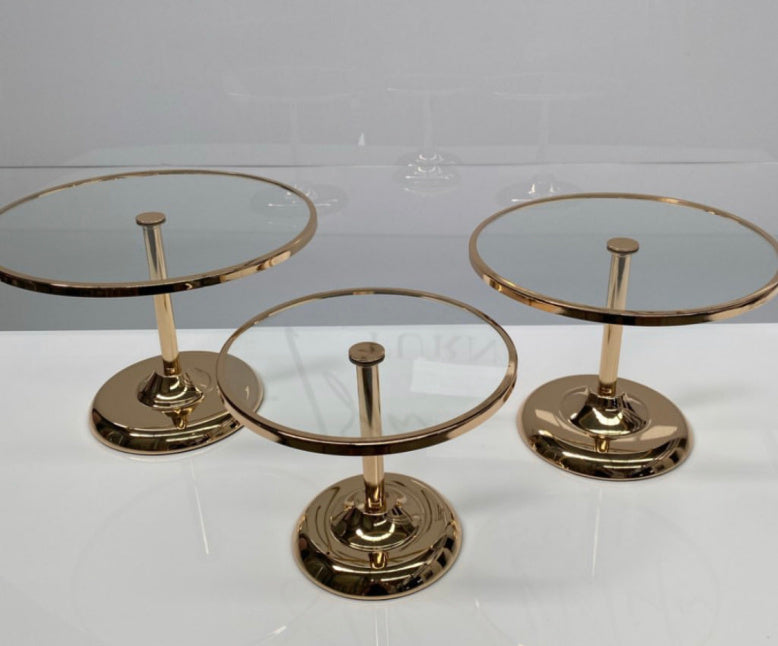 Gold glass top cake stands