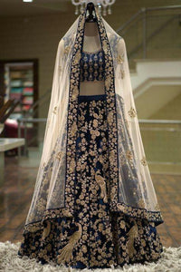 Navy Blue Colored Designer Partywear Embroidered Work Velvet Material Lehenga Choli LC 300