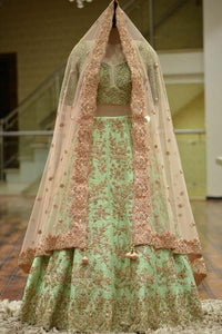 pista color partywear lehenga choli with embrodary work on malay sartin fabric LC 314