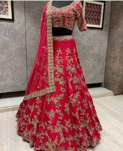 Red Colored Partywear Designer Embroidered Malay Satin Lehenga Choli LC 321