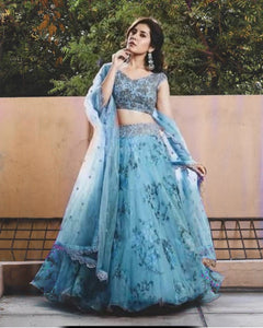 Sky Blue Colored Partywear Designer Embroidered Net with silk Lehenga Choli LC 322