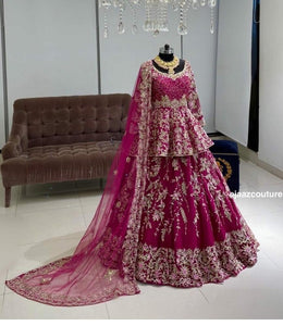 PINK COLORED PARTYWEAR DESIGNER EMBROIDERED MALAY SATIN MATERIAL LEHENGA CHOLI LC 06