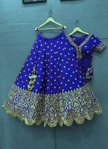 Royal Blue Colored Party wear Embroidered Work Silk Material Lehenga Choli LC 283