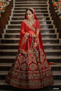 Red Colored Bridal Malay satin Lehenga Choli With Hand and Embroidery Work HLC 10
