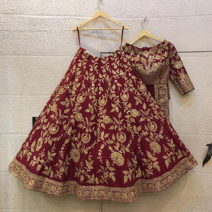 Maroon Colored Party wear Designer Embroidered Malay Satin Silk Lehenga Choli LC 287