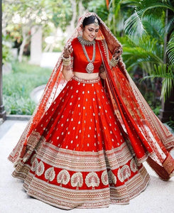 RED COLORED PARTYWEAR DESIGNER EMBROIDERED MALAY SATIN NEW SILK MATERIAL LEHENGA CHOLI LC 251
