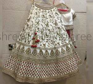 White Colored Red Dupatta Partywear Designer Embroidered  Malay satin Lehenga Choli LC 185