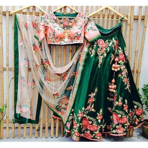 Green Colored Partywear Designer Embroidered Malay Satin Silk Lehenga Choli LC 225