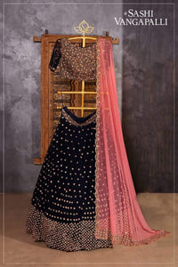 Black Colored Designer Partywear Embroidered Work Malay satin Material Lehenga Choli LC 229