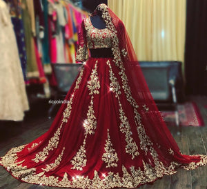 RED COLORED PARTYWEAR DESIGNER EMBROIDERED CHIFFON NEW  MATERIAL LEHENGA CHOLI LC 275