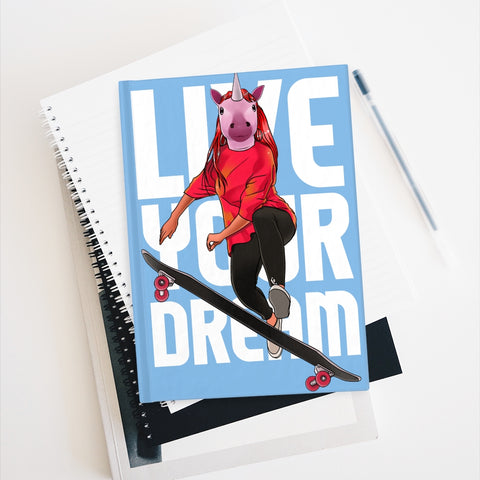 powder blue Live Your Dream Unicorn Journal - Ruled Line