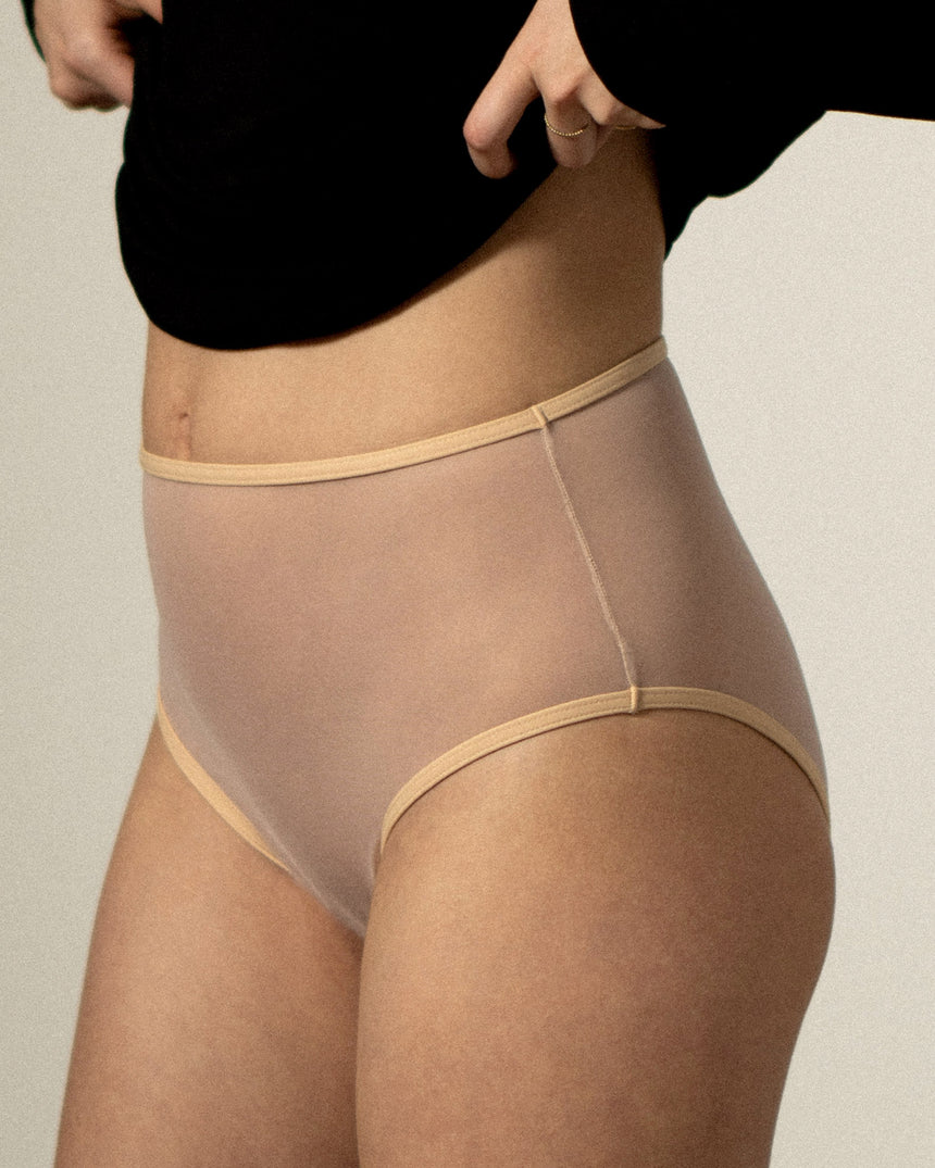Mesh High Waist Brief Peach