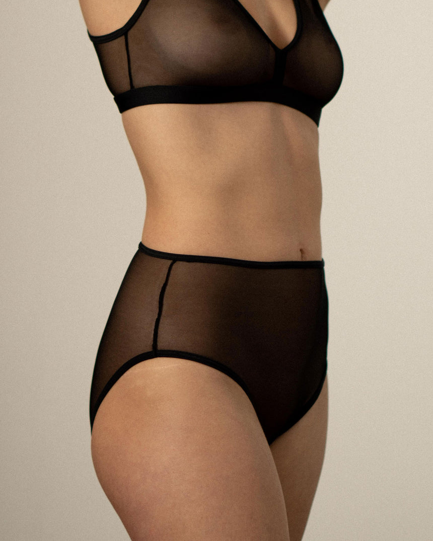 High waist brief Black