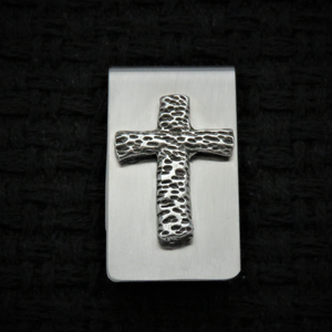 Cross, Textured, Money Clip