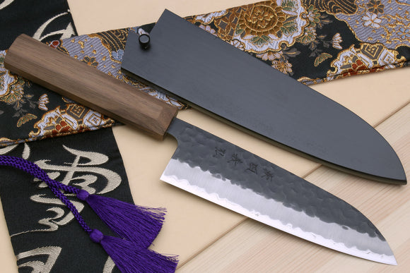 Yoshihiro Kurouchi Super Blue Steel Stainless Clad Santoku Multipurpose Chef Knife with Walnut Handle
