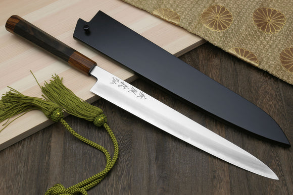 Yoshihiro Hiryu Ginsan High Carbon Stainless Steel Sujihiki Slicer Knife Ebony Handle with Nuri Saya Cover