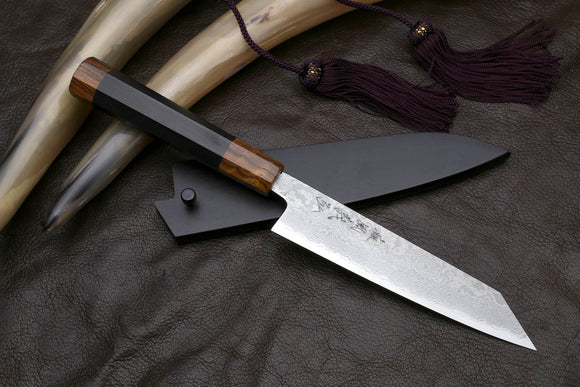 Yoshihiro Hiryu Suminagashi Ginsan High Carbon Stainless Steel Petty Kiritsuke Utility Knife Ebony Handle