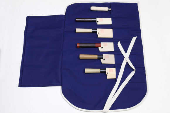 Yoshihiro Japanese Knife Cotton Pouch Bag Navy Color (6 Slots)