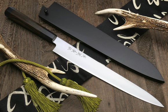 Yoshihiro Hongasumi Ginsanko High Carbon Stain Resistant Sujihiki Slicer Chef Knife Ebony Handle