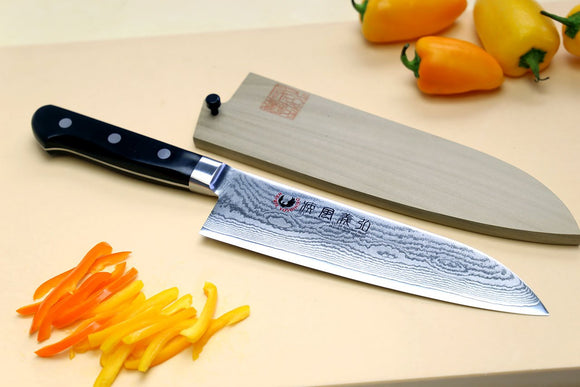 Yoshihiro Vg10 Stainless Steel 33 Layers Damascus Santoku 180Mm Cutting Board 2Pc Set