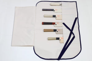 Yoshihiro Japanese Knife Cotton Pouch Bag White Color (6 Slots)