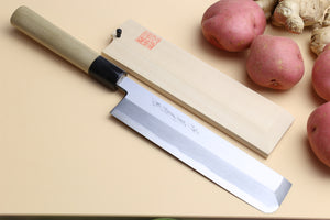 Yoshihiro Kasumi White Steel Edo Usuba Traditional Japanese Vegetable Chopping Chef Knife, Magnolia Handle