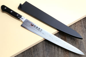 Yoshihiro VG10 33 Layers Damascus Sujihiki Slicer Japanese Sushi Sashimi Chef Knife w/ Lacquered Magnolia Wood Saya Cover