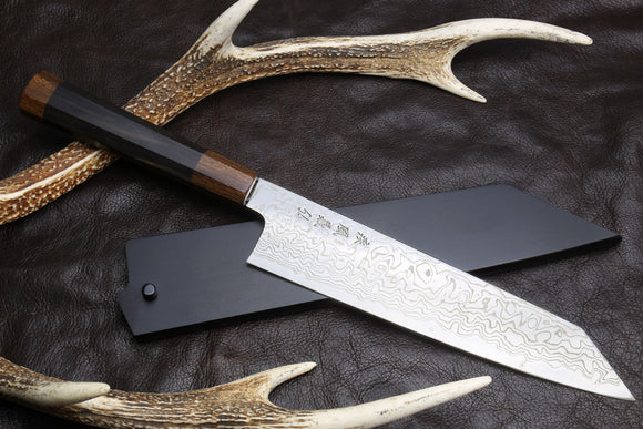 Yoshihiro Suminagashi Ginsanko High Carbon Stain Resistant Steel Kiritsuke Japanese Multipurpose Chef Knife Ebony Handle