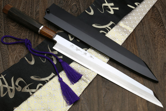 Yoshihiro Ginsanko Mirror Polished Stain Resistant Steel Yanagi Kiritsuke Sushi Sashimi Japanese Knife Ebony Handle with Silver Ring