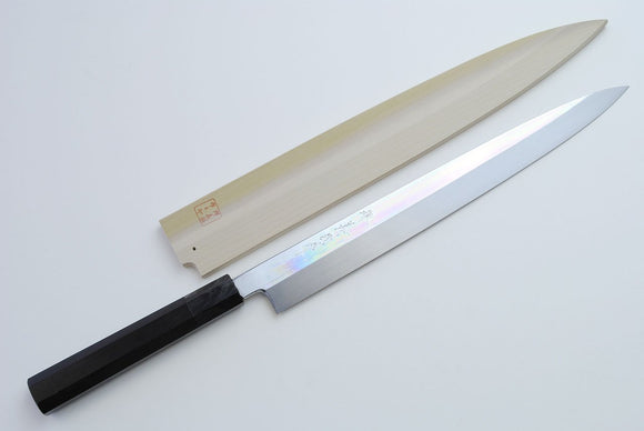 Yoshihiro Honyaki Mirror-Finished White Steel Yanagi Sushi Sashimi Japanese Knife Ebony Handle Yoshikuni Series