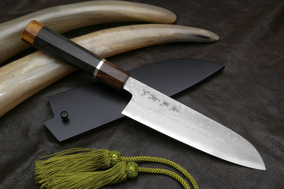 Yoshihiro Hiryu Suminagashi Ginsan High Carbon Stainless Steel Santoku Multipurpose Knife Silver Ring Ebony Handle
