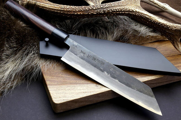 Yoshihiro Mizu Yaki Blue High Carbon Steel Kurouchi Kiritsuke Japanese Multipurpose Knife Round-Shape Shitan Handle with Lacquered Nuri Saya Cover