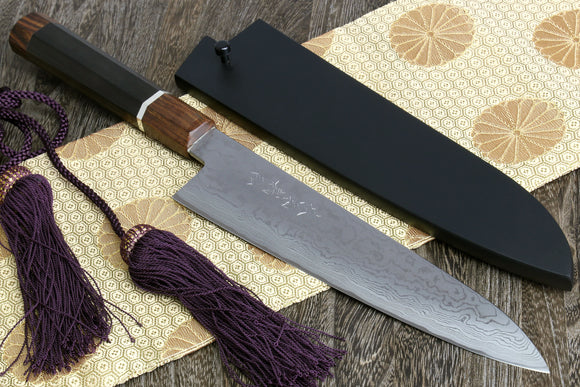 Yoshihiro Blue Steel Super Mizuyaki Suminagashi Wa Gyuto Single Edged Japanese Sushi Chefs Knife Ebony Handle with Nuri Saya