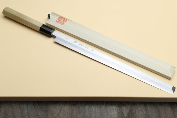 Yoshihiro Hongasumi Blue Steel Takobiki Sushi Sashimi Slicing Japanese Chef Knife, Magnolia wood Handle