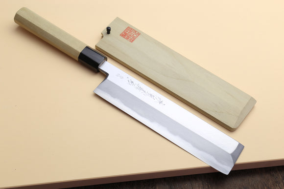 Yoshihiro Hongasumi Blue Steel Edo Usuba Traditional Japanese Vegetable Chopping Chef Knife, Magnolia wood Handle
