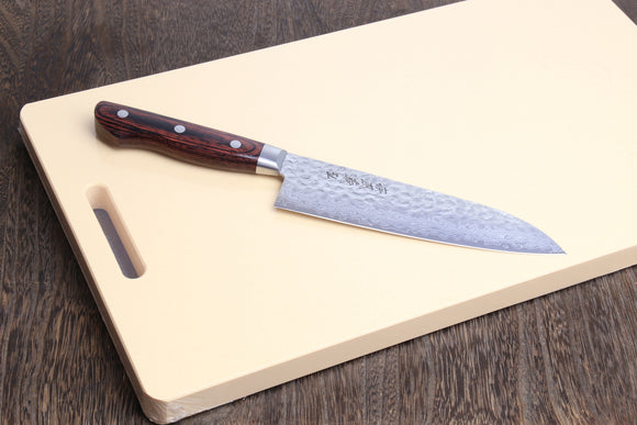 Yoshihiro VG-10 16 Layer Hammered Damascus Stainless Steel Santoku 180mm Cutting Board 2pc Set