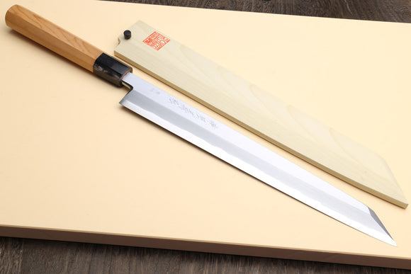 Yoshihiro Aonamiuchi Blue Steel #1 Yanagi Kiritsuke Sushi Sashimi Japanese Knife Yew Wood Handle with Magnolia Saya Cover