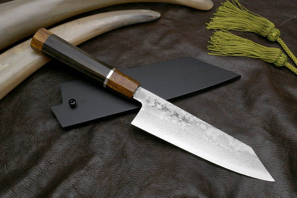Yoshihiro Hiryu Suminagashi Ginsan High Carbon Stainless Steel Kiritsuke Multipurpose Knife Silver Ring Ebony Handle