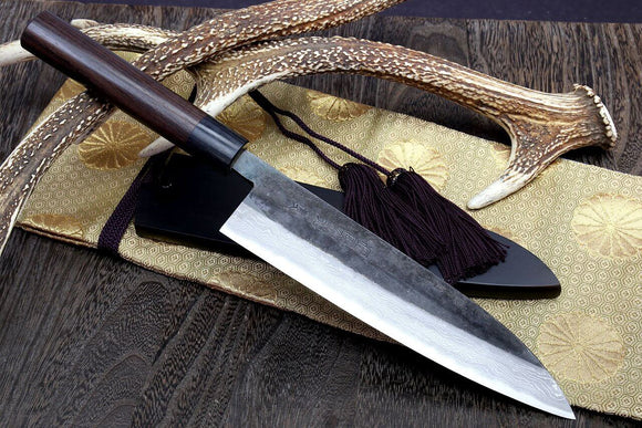 Yoshihiro Mizu Yaki Black Finish Blue steel Suminagashi KUROUCHI Gyuto Japanese Chefs knife (Round Shape Shitan Handle) with Nuri Saya