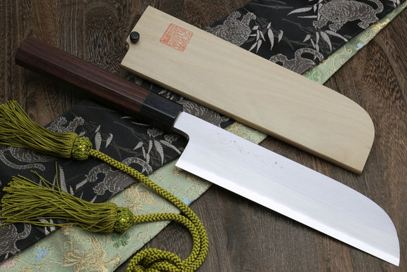 Yoshihiro Mizu Yaki Hongasumi Ginsanko (Hakugin) High Carbon Stain Resistant Kama Usuba Traditional Japanese Vegetable Chopping Chef Knife Shitan Handle