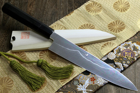 Yoshihiro Mizu Yaki Honyaki Mirror-Finished Mt. Fuji with Crescent Moon Gyuto Chefs Knife with Ebony Handle